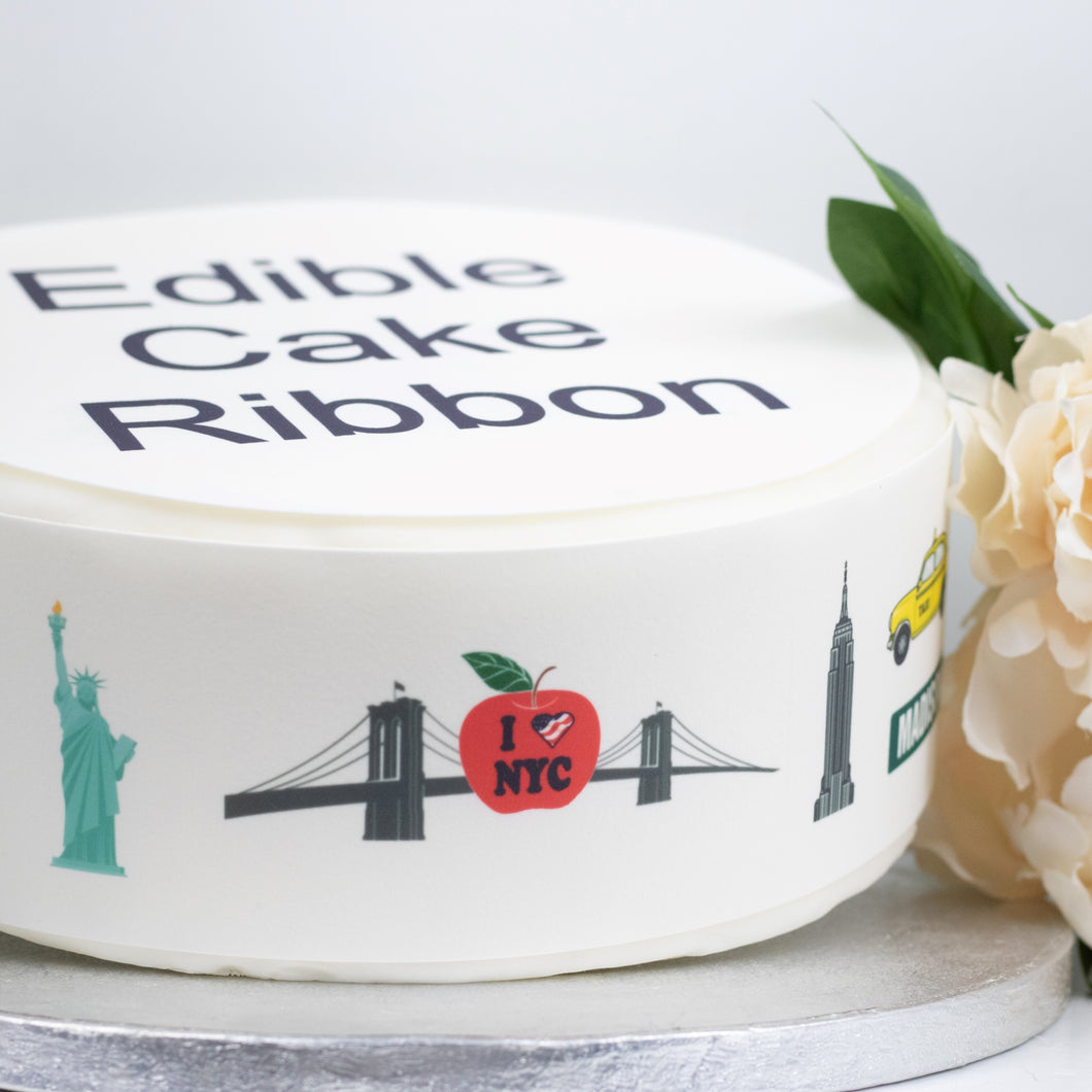 New York City USA Themed Edible Icing Cake Ribbon / Side Strips