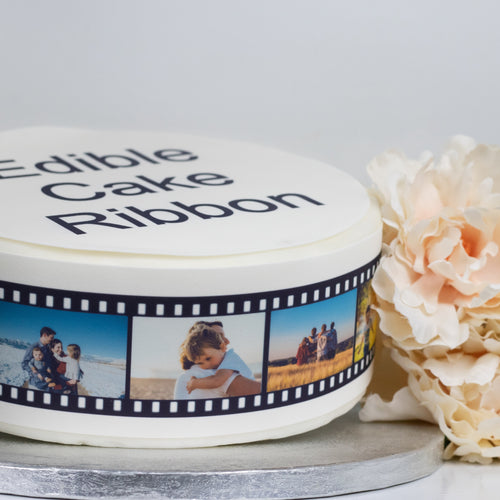 Personalised Photo Film Strip Edible Icing Cake Ribbon / Side Strips