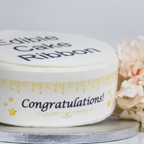 Congratulations Edible Icing Cake Ribbon / Side Strips