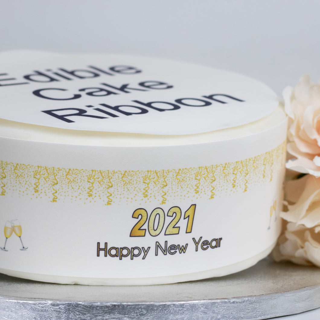 2021 Happy New Year Edible Icing Cake Ribbon / Side Strips  Edible fondant icing, perfect for that special occasion  Easy to decorate a homemade or shop bought cake - simply peel and apply to the side of your cake