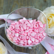 Load image into Gallery viewer, Pink Tablet Hearts Sprinkles Cupcake / Cake Decorations