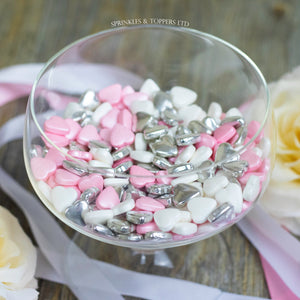 Pink White & Metallic Silver Tablet Hearts Sprinkles Cupcake / Cake Decorations