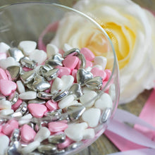 Load image into Gallery viewer, Pink White & Metallic Silver Tablet Hearts Sprinkles Cupcake / Cake Decorations