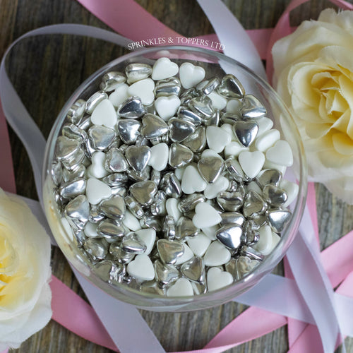 White & Metallic Silver Tablet Hearts Sprinkles Cupcake / Cake Decorations