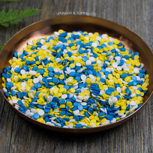 4mm Blue White & Yellow Glimmer Confetti