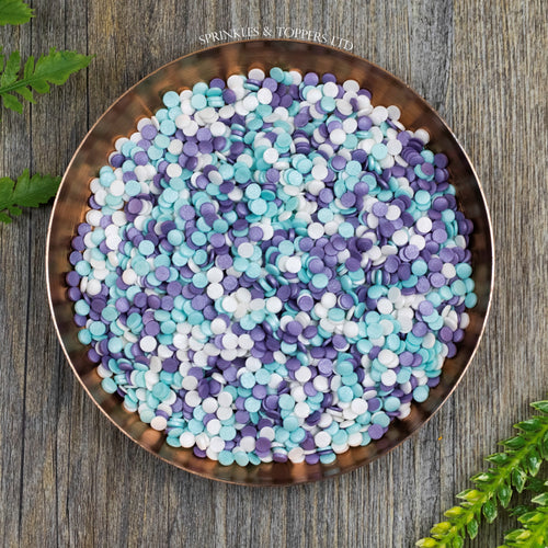 4mm Purple White & Turquoise Glimmer Confetti  Edible confetti with a lovely shiny finish  Perfect to top any cupcake, large cake, ice cream, cookies, shakes and more...