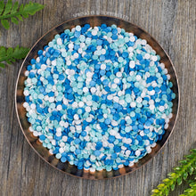 Load image into Gallery viewer, 4mm Blue White & Turquoise Glimmer Confetti  Edible confetti with a lovely shiny finish  Perfect to top any cupcake, large cake, ice cream, cookies, shakes and more...