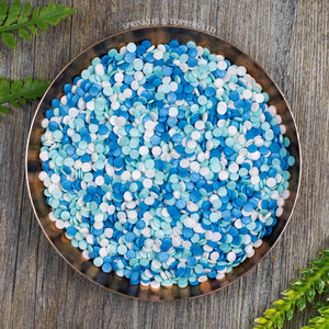 4mm Blue White & Turquoise Glimmer Confetti  Edible confetti with a lovely shiny finish  Perfect to top any cupcake, large cake, ice cream, cookies, shakes and more...