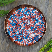 Load image into Gallery viewer, 4mm Red White & Blue Glimmer Confetti  Edible confetti with a lovely shiny finish  Perfect to top any cupcake, large cake, ice cream, cookies, shakes and more...