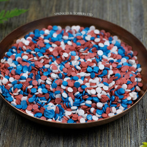 4mm Red White & Blue Glimmer Confetti  Edible confetti with a lovely shiny finish  Perfect to top any cupcake, large cake, ice cream, cookies, shakes and more...