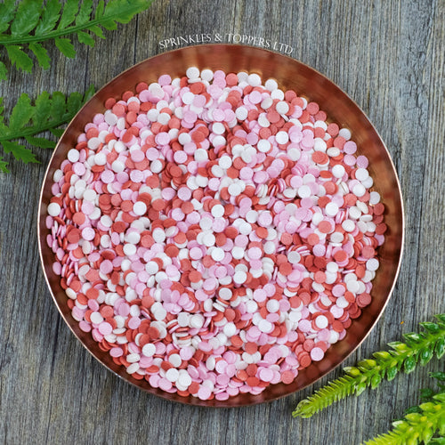 4mm Red White & Pink Glimmer Confetti  Edible confetti with a lovely shiny finish  Perfect to top any cupcake, large cake, ice cream, cookies, shakes and more...