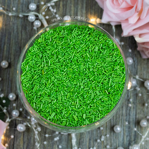 Perfect to top any cupcake or to decorate a larger cake, ice creams, smoothies, cookies and more  Lovely green glimmer strands with a shiny finish
