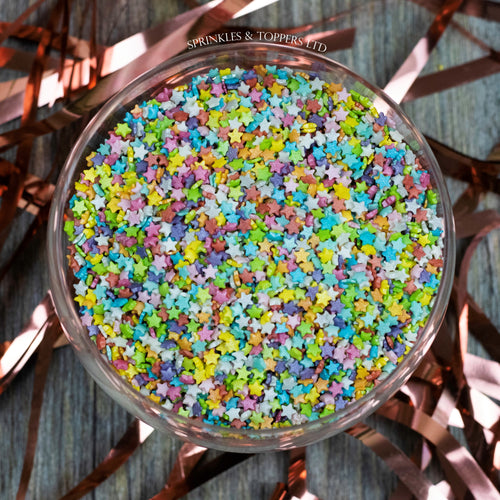 Mini Rainbow Glimmer Stars Sprinkles Cupcake / Cake Decorations