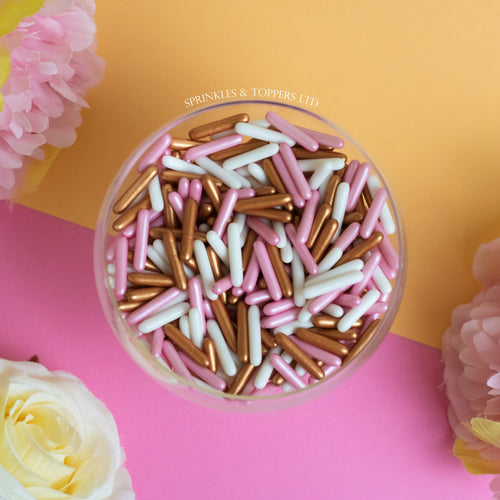 Pink White & Rose Gold / Copper Macaroni Rods (20mm) Sprinkles