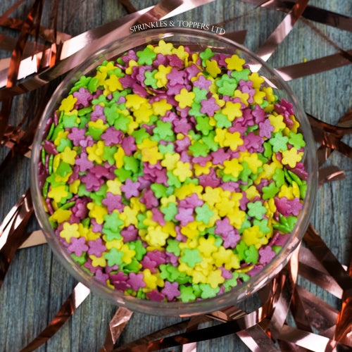 Colourful Glimmer Flowers Sprinkles Mix (100g)  Perfect to top any cupcake or to decorate a larger cake, ice creams, smoothies, cookies and more  Perfect for those spring / summer themed bakes