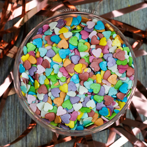 Rainbow Glimmer Hearts Sprinkles Cupcake / Cake Decorations (100g)