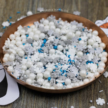 Load image into Gallery viewer, Stunning mix of blue, white & silver glimmer pearls (4mm) & glimmer strands & white / silver sugar snowflakes, 7mm white pearls