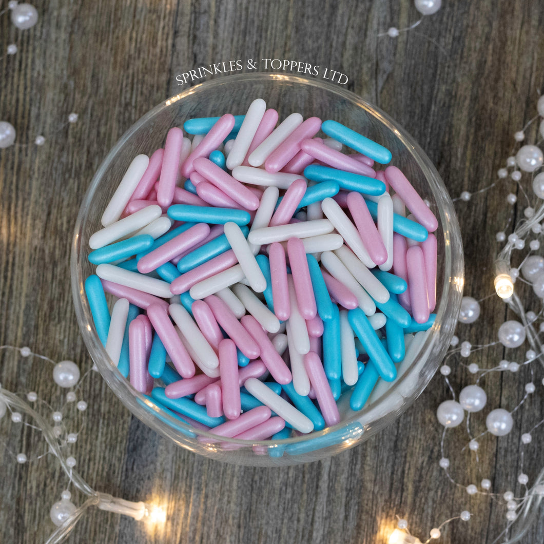 Pink, White & Blue Macaroni Rods (20mm) Sprinkles