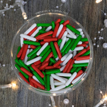 Load image into Gallery viewer, Red, White & Green Macaroni Rods (20mm) Sprinkles