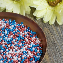 Load image into Gallery viewer, Red White & Blue Glimmer Pearls (3-4mm) Sprinkles