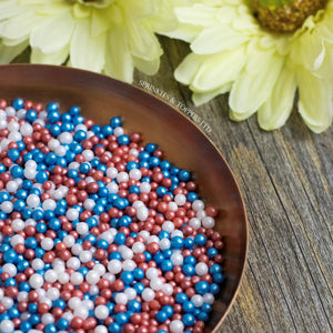 Red White & Blue Glimmer Pearls (3-4mm) Sprinkles