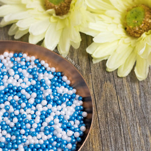 Lovely edible blue and white sugar pearls with shiny finish 3-4mm (approx)  Perfect to decorate cupcakes, a large cake, ice creams, smoothies, cookies.....the list is endless