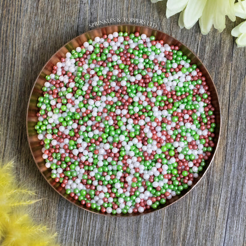 Red White & Green Glimmer Pearls (3-4mm) Sprinkles