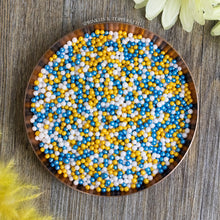 Load image into Gallery viewer, Blue White & Gold Glimmer Pearls (3-4mm) Sprinkles  Lovely edible sugar pearls with shiny finish 3-4mm (approx)  Perfect to decorate cupcakes, a large cake, ice creams, smoothies, cookies.....the list is endless