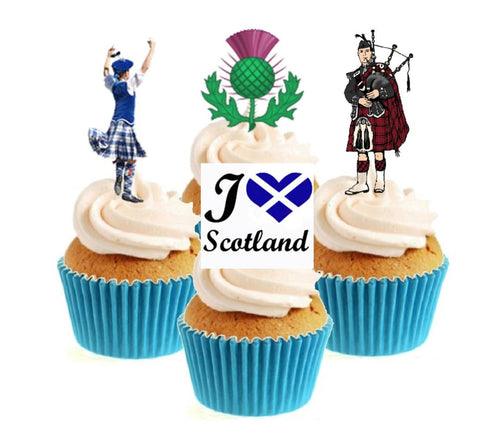 I Love Scotland Collection Stand Up Cake Toppers (12 pack)