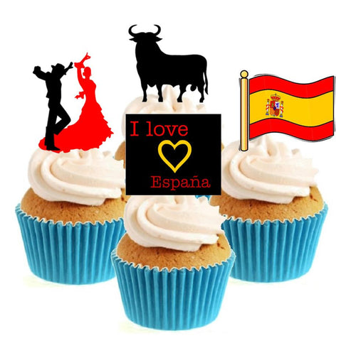 I Love Spain Collection Stand Up Cake Toppers (12 pack)
