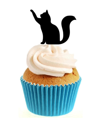 Lucky Black Cat Silhouette Stand Up Cake Toppers (12 pack)