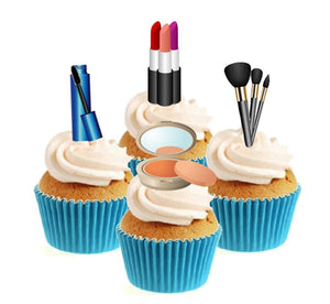 Make Up / Cosmetics Collection Stand Up Cake Toppers (12 pack)