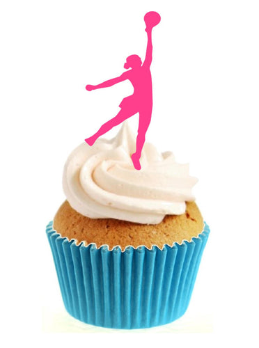 Pink Netball Silhouette Stand Up Cake Toppers (12 pack)