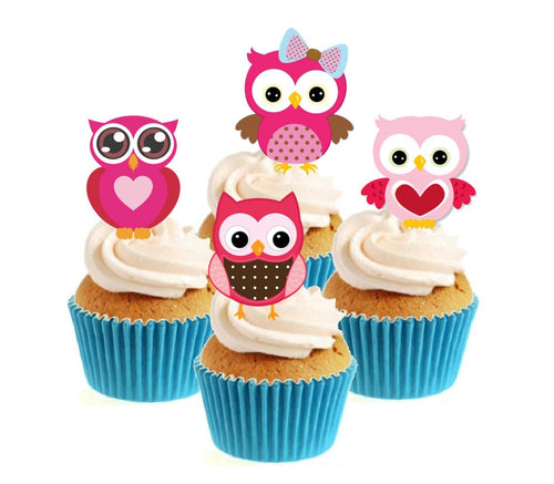 Pink Owls Collection Stand Up Cake Toppers (12 pack)