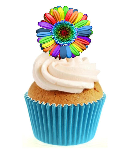 Rainbow Flower Stand Up Cake Toppers (12 pack)