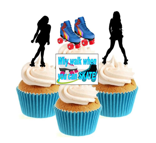 Roller Skating Collection Stand Up Cake Toppers (12 pack)