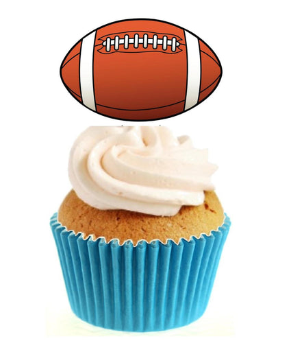 Rugby Ball Stand Up Cake Toppers (12 pack)