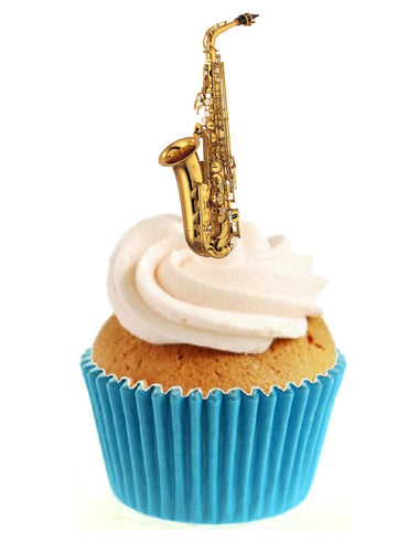 Saxophone Stand Up Cake Toppers (12 pack)