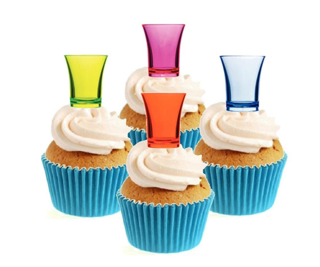 Shot Glasses Collection Stand Up Cake Toppers (12 pack)