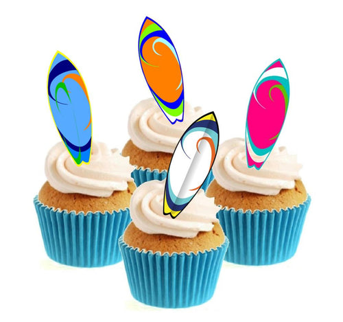 Surf Board Collection Stand Up Cake Toppers (12 pack)