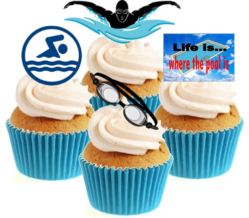Swimming Collection Stand Up Cake Toppers (12 pack)