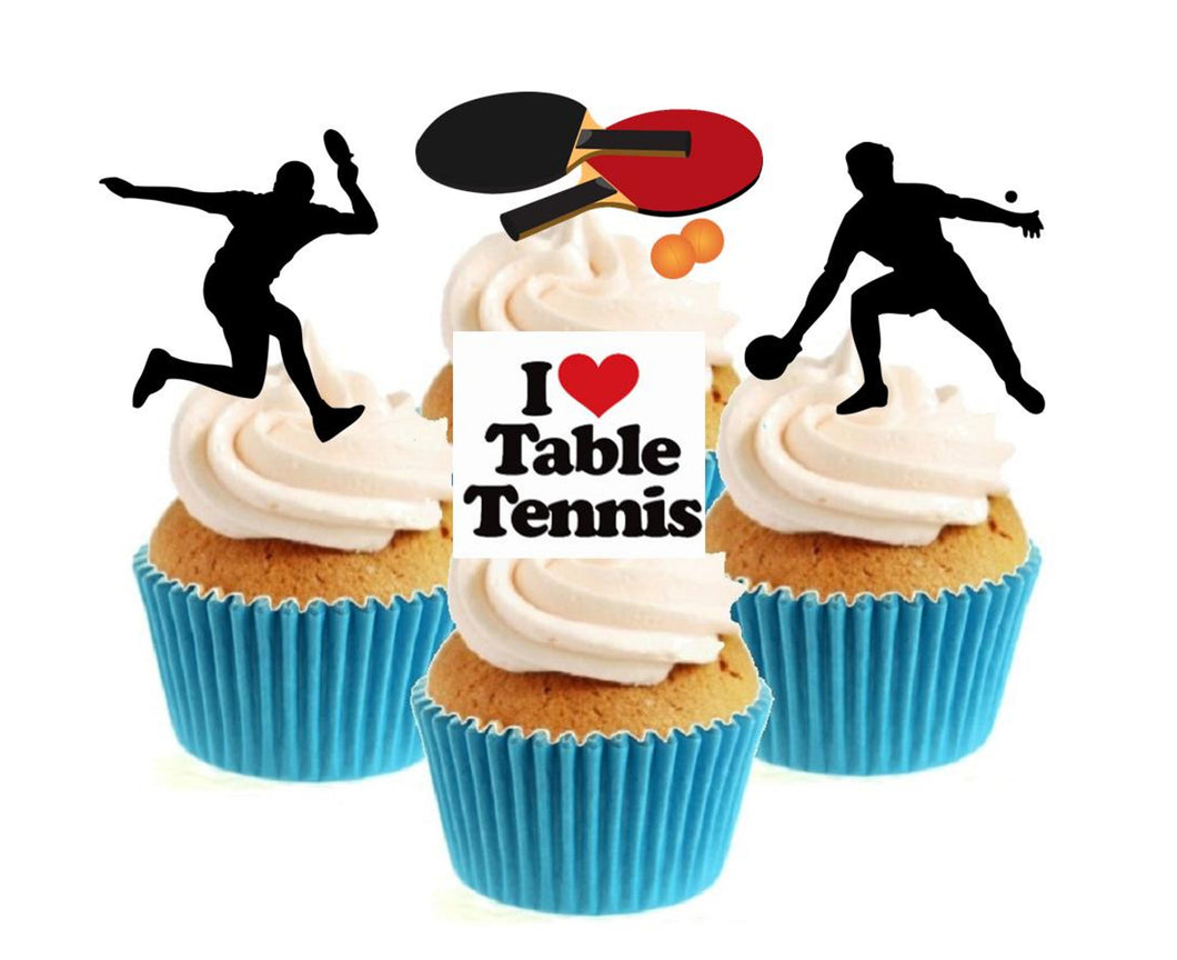 Table Tennis Collection Stand Up Cake Toppers (12 pack)