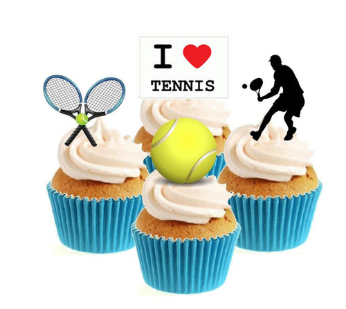 Tennis Male Collection Stand Up Cake Toppers (12 pack)