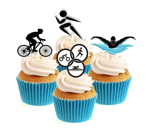 Triathlon Collection Stand Up Cake Toppers (12 pack)