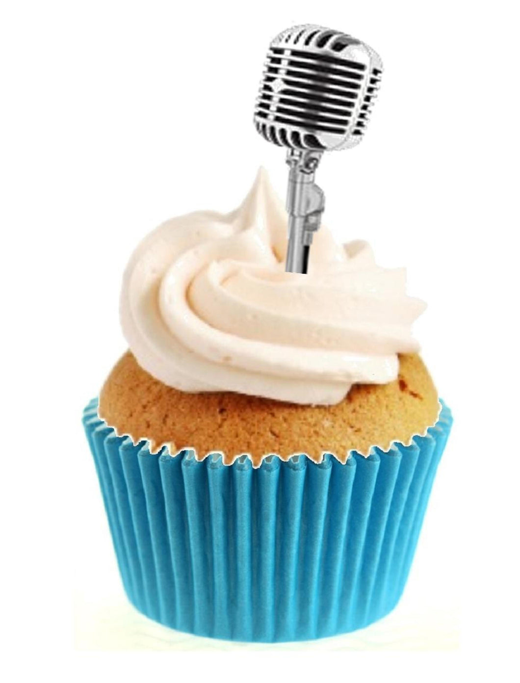 Vintage Microphone Stand Up Cake Toppers (12 pack)