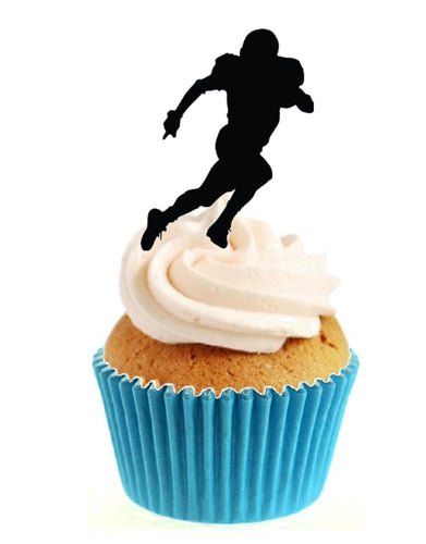 American Football Silhouette Stand Up Cake Toppers (12 pack)