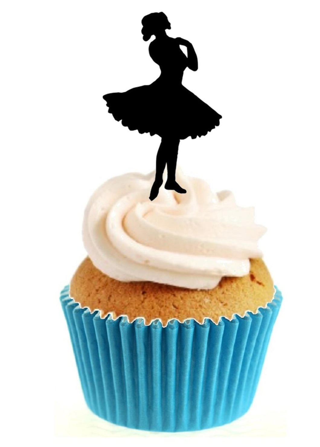 Ballerina Silhouette Stand Up Cake Toppers (12 pack)  Pack contains 12 images printed onto premium wafer card