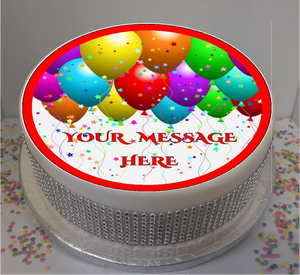 "Personalised Balloons & Stars 8"" Icing Sheet Cake Topper"