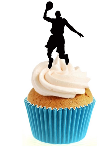 Basketball Silhouette Stand Up Cake Toppers (12 pack)