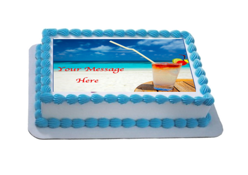 Personalised Beach Cocktails A4 Icing Sheet Topper